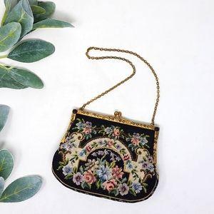 Vintage Petit Point Embroidery Mini Handbag Purse